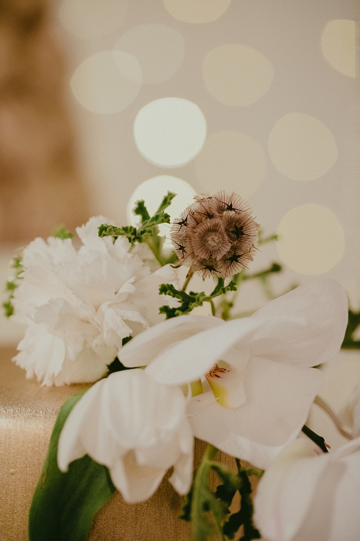a close up image taken by Vividblue of the floral at the wedding.