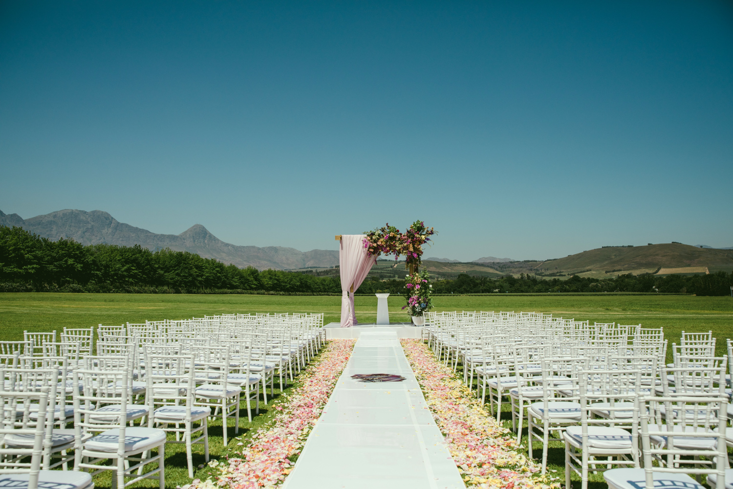 a wedding ceremony on the Lourensford wine estate, with white chairs with pink rose petals and an arch.